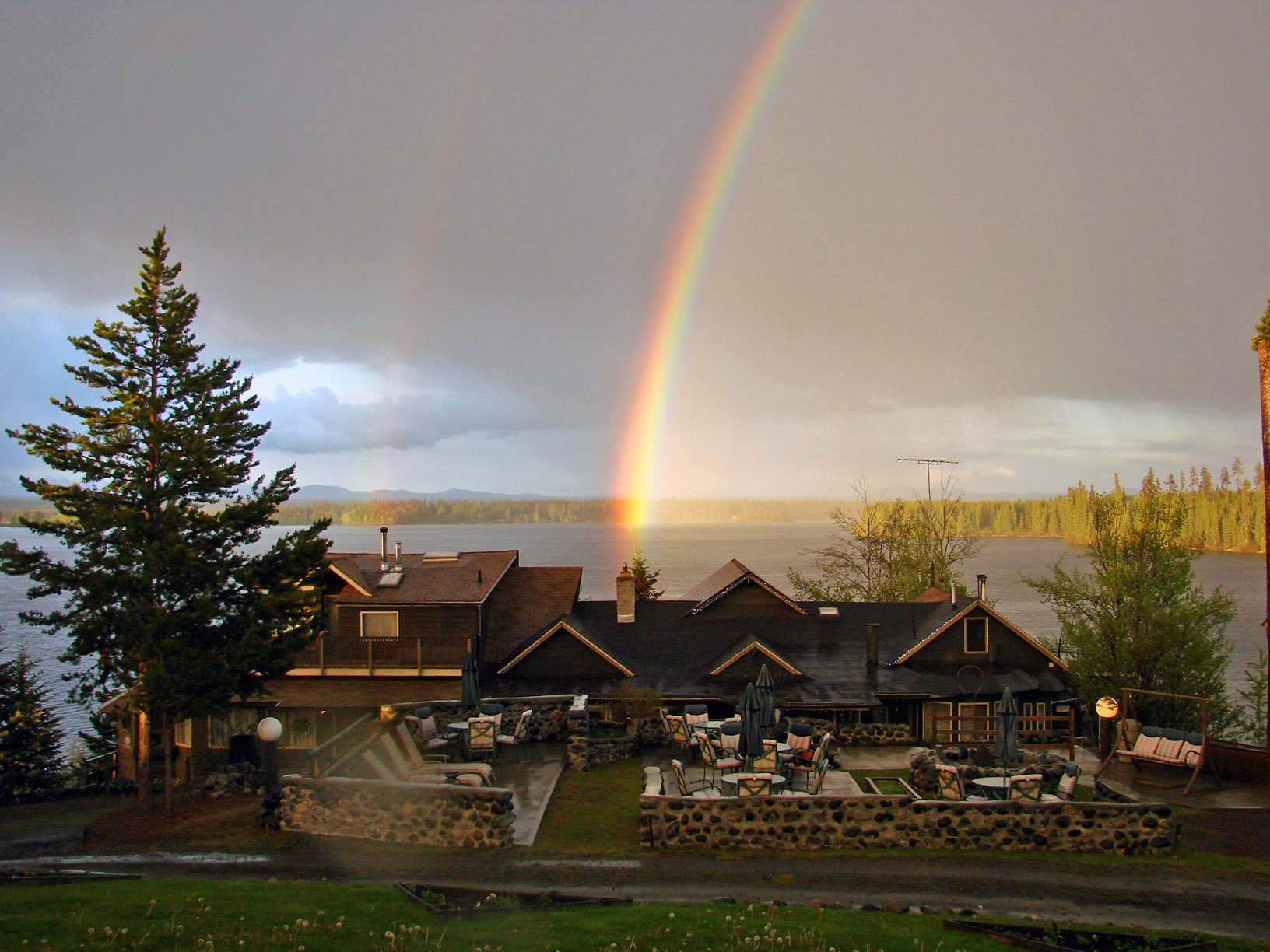 A rainbow over the lodge